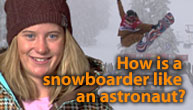Hannah Teter of Belmont, VT- halfpipe snowboarder and Gold Medal winner in 2006 Olympics! Credit: NASA